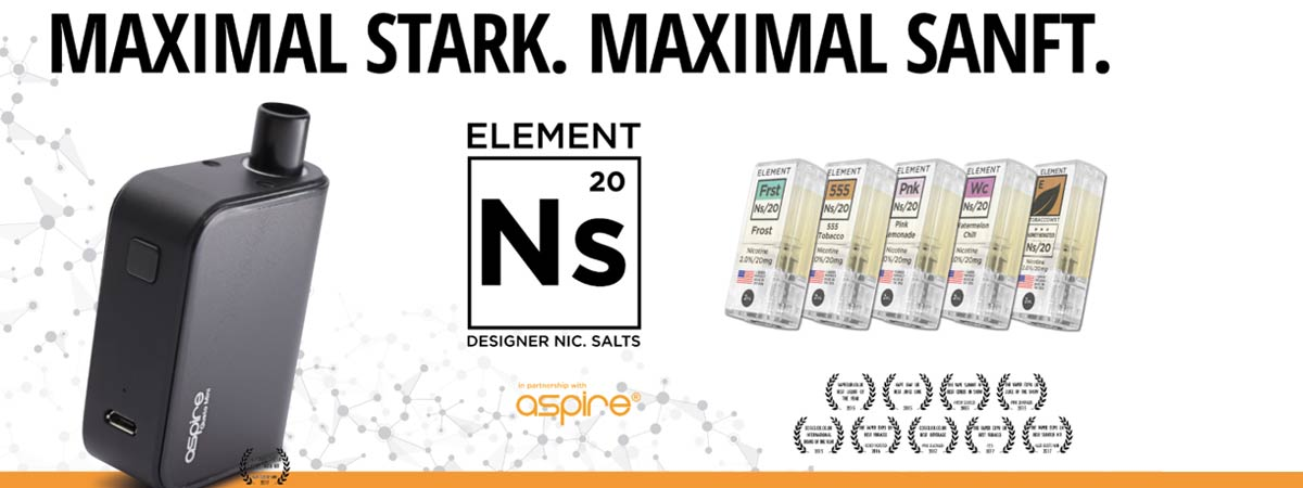 Aspire GUSTO MINI mit NIKOTINSALZ LIQUID von ELEMENT